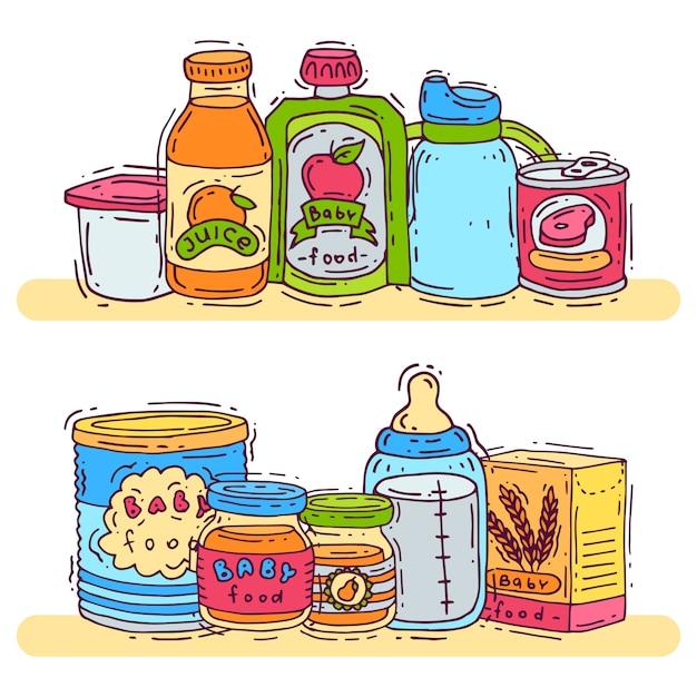 Illustration vectorielle de bébé nourriture complémentaire. Vecteur Premium
