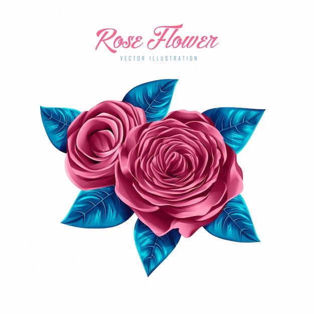 Illustration vectorielle belle fleur rose Vecteur Premium