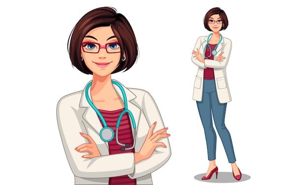 Illustration Vectorielle De Belle Jeune Femme Docteur Vecteur Premium