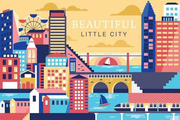 Illustration vectorielle de la belle ville Vecteur Premium
