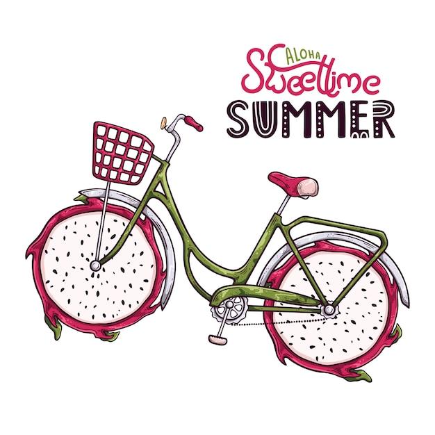 Illustration vectorielle de bicyclette avec fruit du dragon au lieu de roues. Vecteur Premium