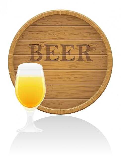 Illustration vectorielle de bière et de tonneau en bois Vecteur Premium