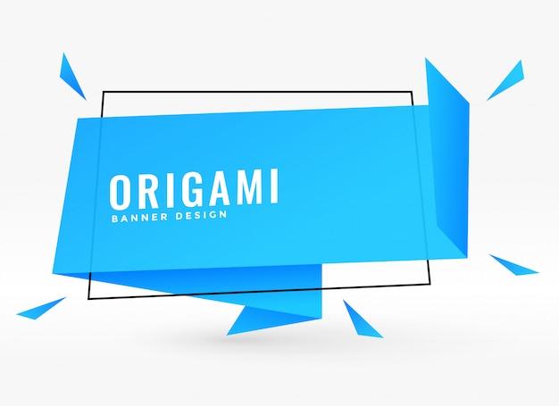 Illustration vectorielle bleu origami chat bulle style ruban Vecteur gratuit