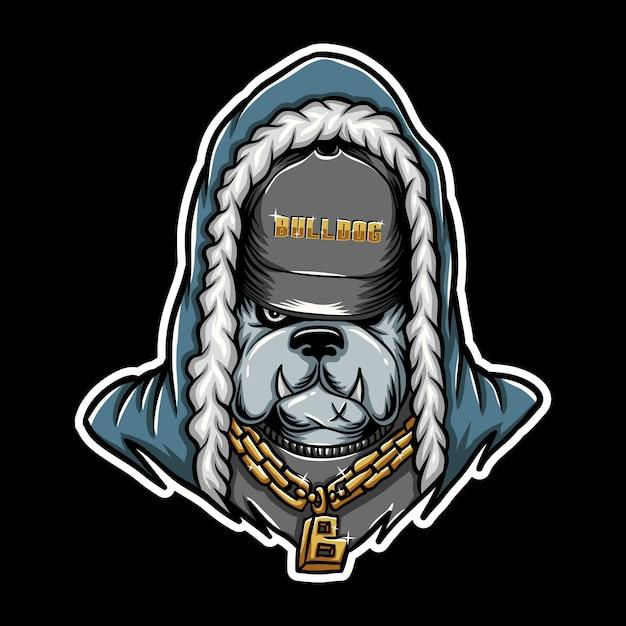 Illustration vectorielle de bouledogue rap Vecteur Premium
