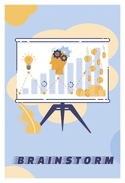 Illustration vectorielle brainstorming cartoon lettering. Vecteur Premium