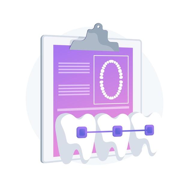 Illustration Vectorielle De Bretelles Dentaires Concept Abstrait. Procédure Dentaire, Méthode De Correction Des Accolades, Traitement Des Dents Encombrées, Problème Orthodontique, Aligneur De Dents Et Dispositif De Retenue, Métaphore Abstraite Du Support. Vecteur gratuit