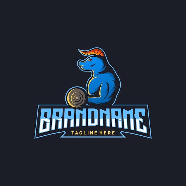 Illustration vectorielle de bull gym logo design Vecteur Premium