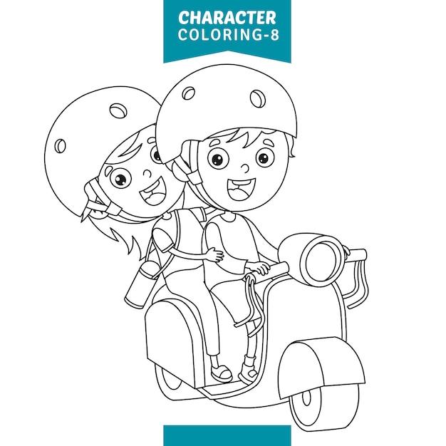 Illustration vectorielle de caractères coloriage Vecteur Premium