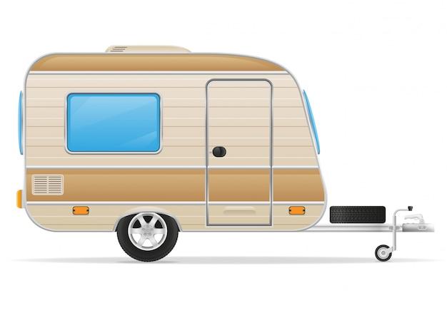 Illustration vectorielle de caravane de remorque Vecteur Premium