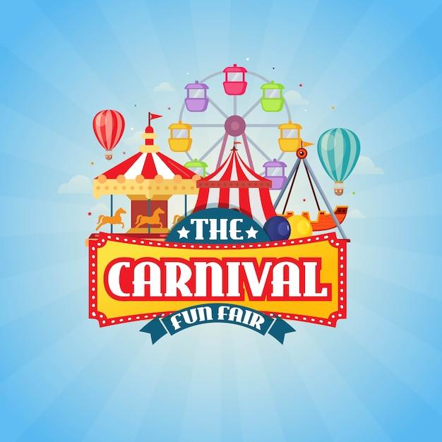 L'illustration vectorielle de carnaval funfair design Vecteur Premium