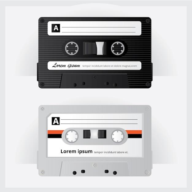 Illustration vectorielle de cassette vintage Vecteur Premium