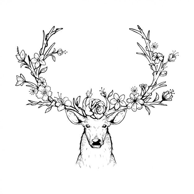 Illustration vectorielle d'un cerf principal avec des bois floraux Vecteur Premium