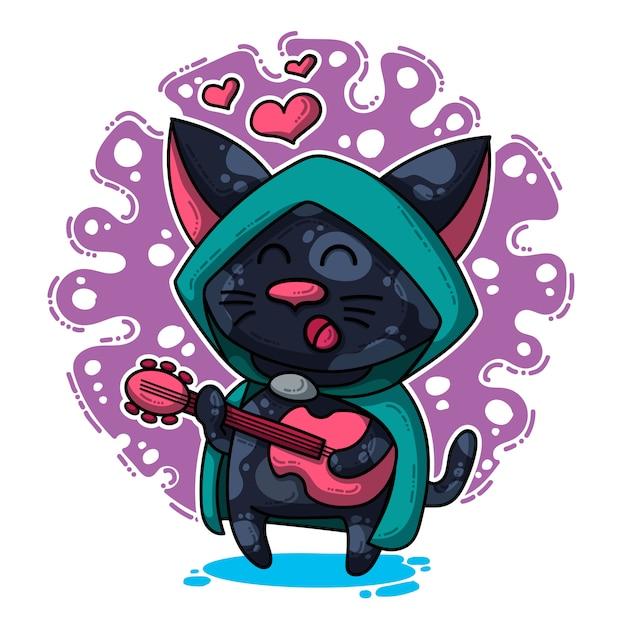 Illustration vectorielle sur chat amoureux Vecteur Premium