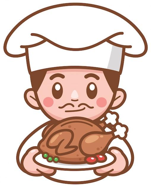 Illustration Vectorielle De Chef De Bande Dessinée Présentant Des Aliments Vecteur Premium
