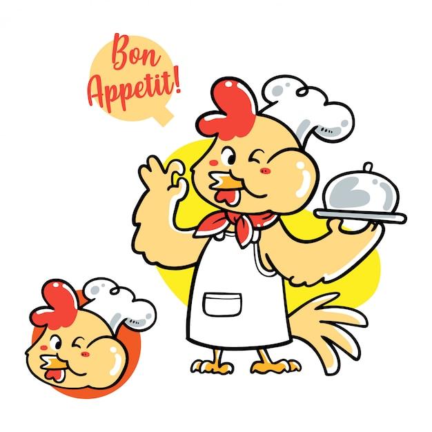 Illustration vectorielle de chef de poulet dessiné main mignon Vecteur Premium