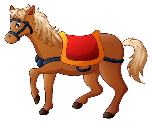 Illustration vectorielle de cheval de dessin animé avec selle Vecteur Premium