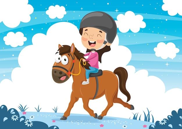 Illustration vectorielle de cheval d'équitation Vecteur Premium