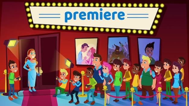 Illustration Vectorielle Cinéma Premiere Cartoon Flat. Vecteur Premium