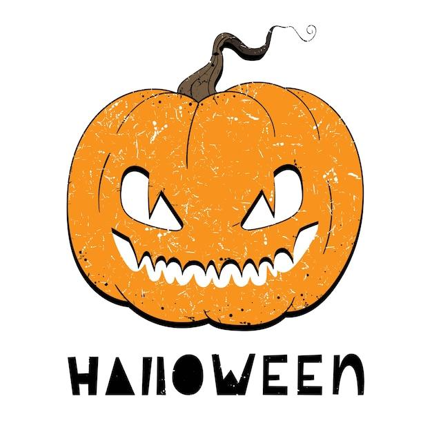 Illustration vectorielle de citrouille avec des yeux pour halloween Vecteur Premium