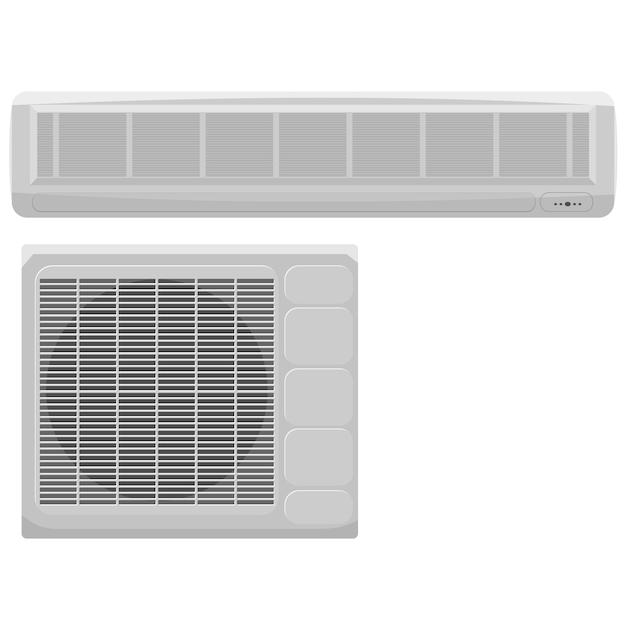 Illustration vectorielle de la climatisation moderne sur fond blanc Vecteur Premium