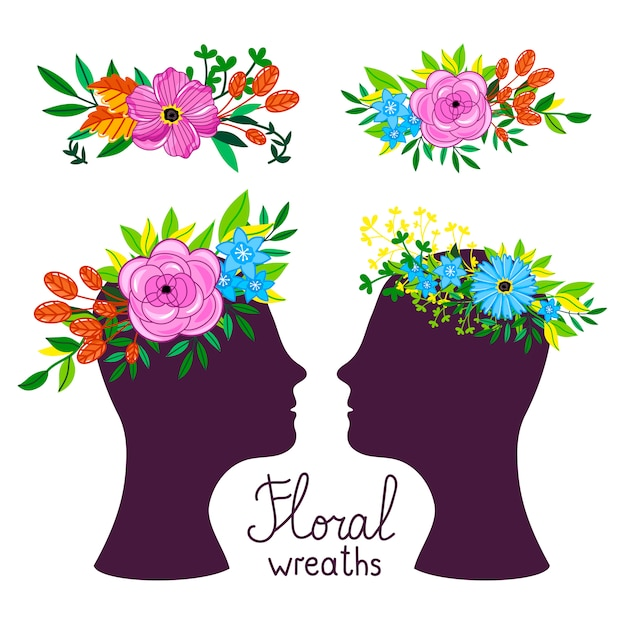 Illustration vectorielle coiffure florale Vecteur Premium
