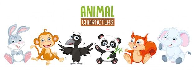 Illustration vectorielle de la collection d'animaux de dessin animé Vecteur Premium