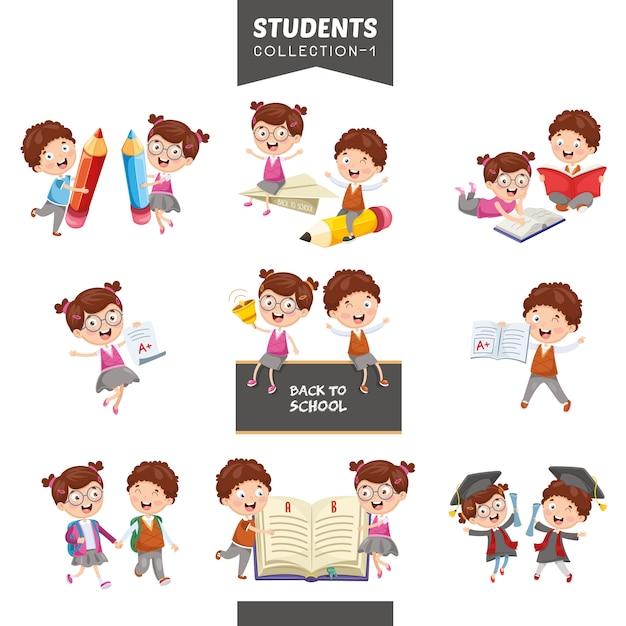 Illustration vectorielle de la collection d'étudiants Vecteur Premium