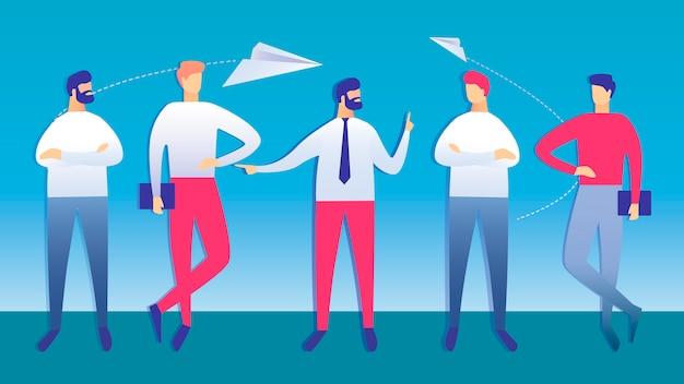Illustration vectorielle de collègues réunion d'affaires Vecteur Premium