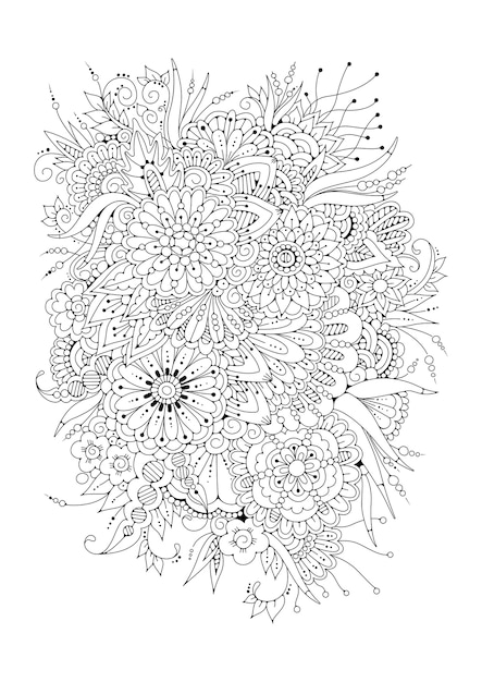 Illustration Vectorielle. Coloriage. Fond Floral Noir Et Blanc. Vecteur Premium