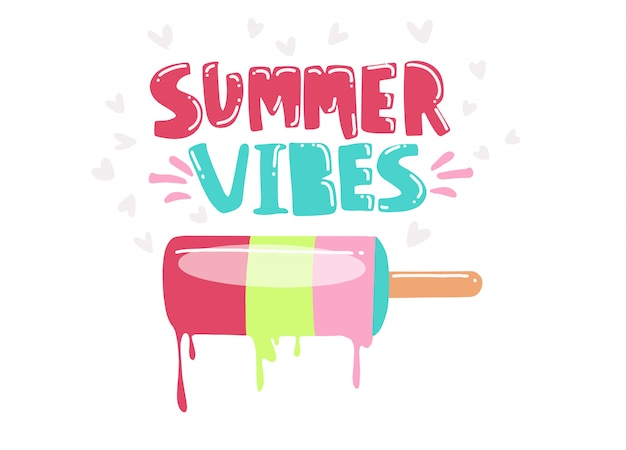 Illustration vectorielle: composition de lettrage de type manuscrite de summer vibes avec crème glacée dessinée à la main Vecteur Premium