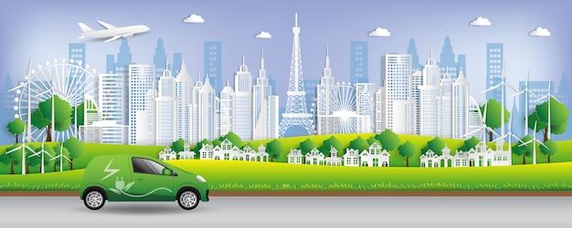 Illustration vectorielle concept écologique, la ville verte sauve le monde Vecteur Premium