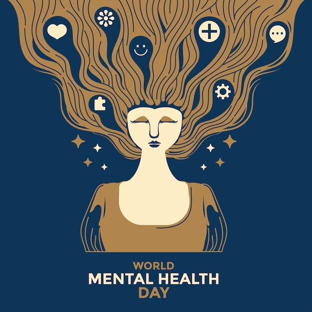 Illustration Vectorielle Concept De La Journée Mondiale De La Santé Mentale. Vecteur Premium