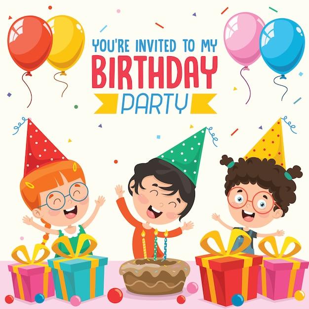 Illustration vectorielle de conception de cartes d'invitation de fête d'anniversaire enfants Vecteur Premium