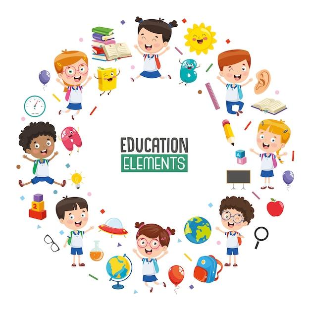Illustration vectorielle de la conception de l'éducation Vecteur Premium