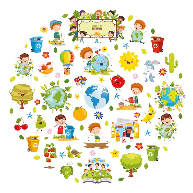 Illustration Vectorielle De La Conception De L'environnement Vecteur Premium
