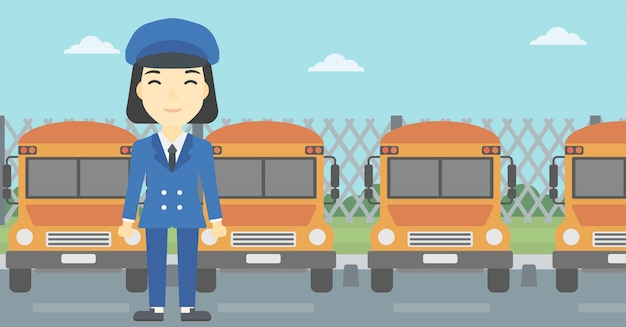 Illustration vectorielle de conducteur d'autobus scolaire. Vecteur Premium