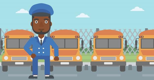 Illustration vectorielle de conducteur d'autobus scolaire. Vecteur Premium