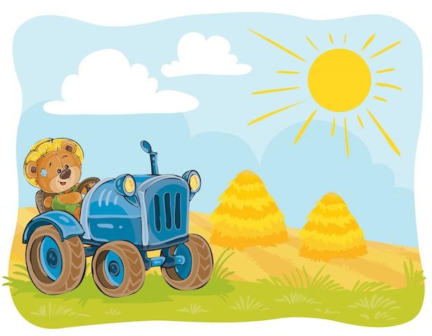 Illustration vectorielle d'un conducteur de tracteur d'ours en peluche. Vecteur gratuit