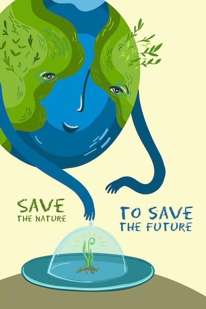 Illustration Vectorielle Sur La Conservation Des Arbres Et Des Plantes Sur La Planète Terre. Vecteur Premium