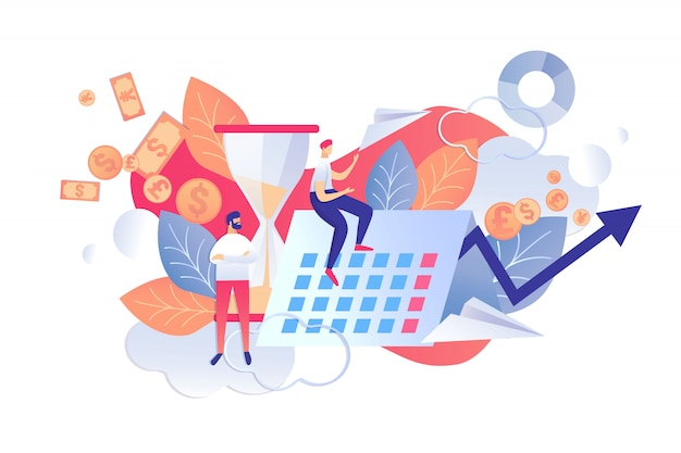Illustration vectorielle contrôle temps et plans plats. Vecteur Premium