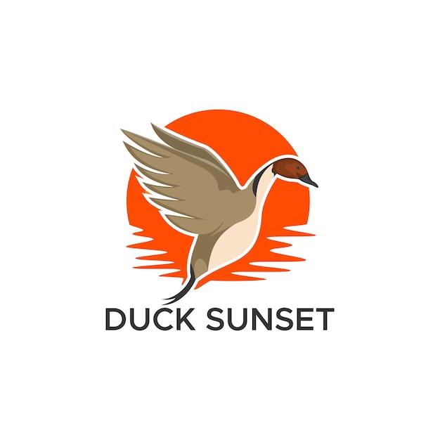 Illustration vectorielle coucher de soleil canard pilet Vecteur Premium