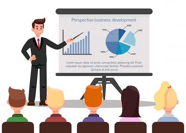 Illustration vectorielle de couleur confiant business coach Vecteur Premium