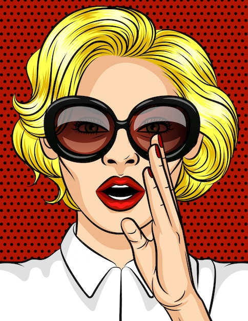Illustration vectorielle de couleur dans un style pop art. la femme la blonde à lunettes noires raconte un secret. une belle dame aux lèvres rouges tient sa main à sa bouche. Vecteur Premium