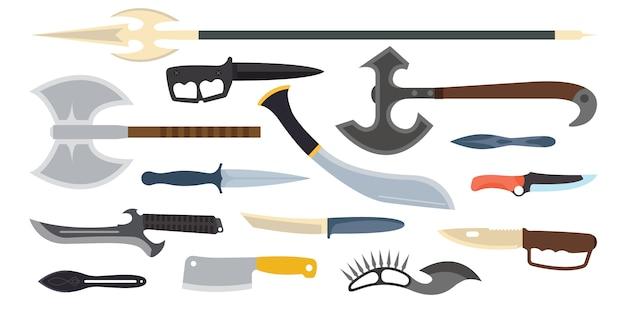 Illustration vectorielle de couteaux arme. Vecteur Premium