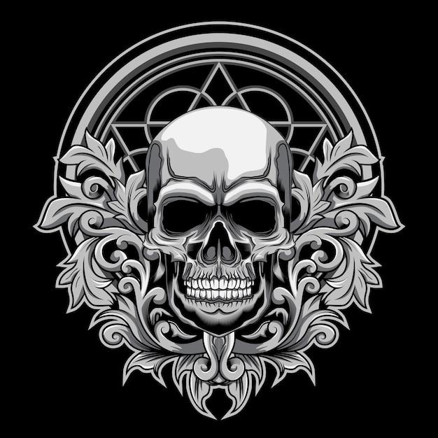 Illustration vectorielle crâne floral sur fond sombre Vecteur Premium
