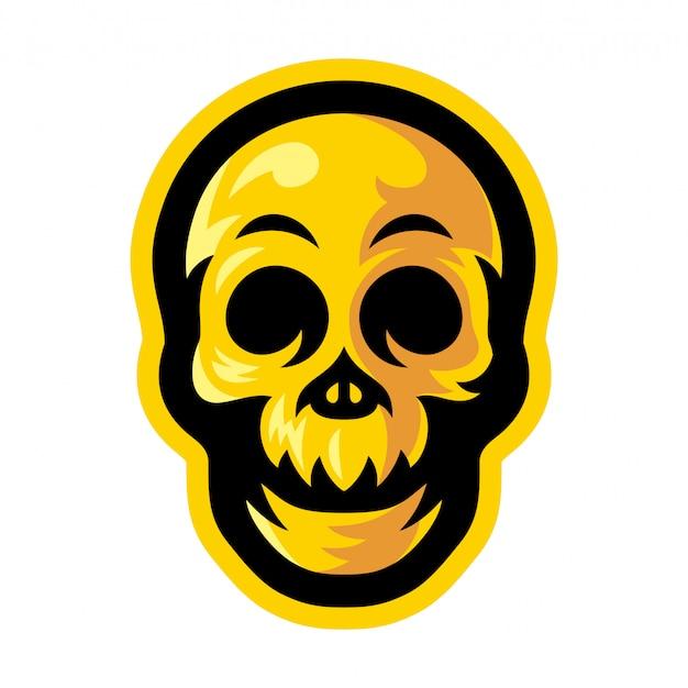 Illustration vectorielle de crâne jaune logo mascotte Vecteur Premium