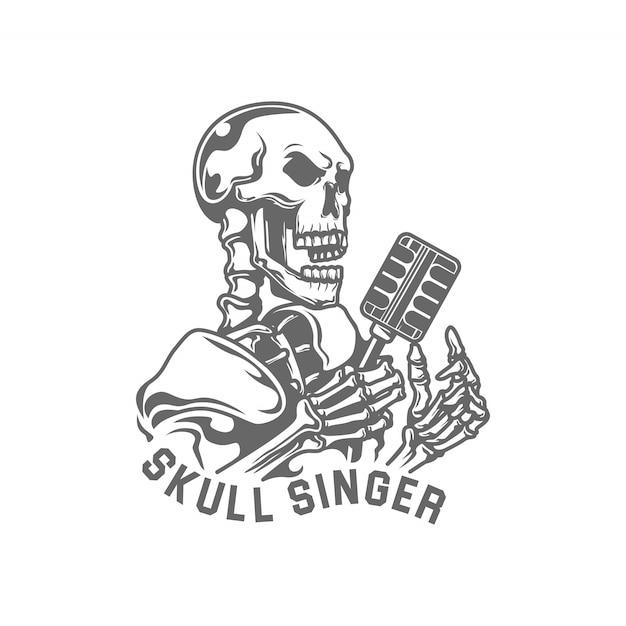 Illustration Vectorielle De Crâne Et Microphones Chanteur De Jazz Vecteur Premium