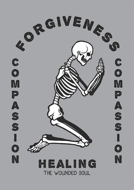 Illustration vectorielle de crâne priant en position de culte à la recherche de pardon et de compassion pour la guérison de l'âme blessée. Vecteur Premium