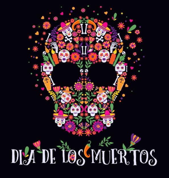 Illustration vectorielle d'un crâne richement décoré de dia de los muertos. Vecteur Premium