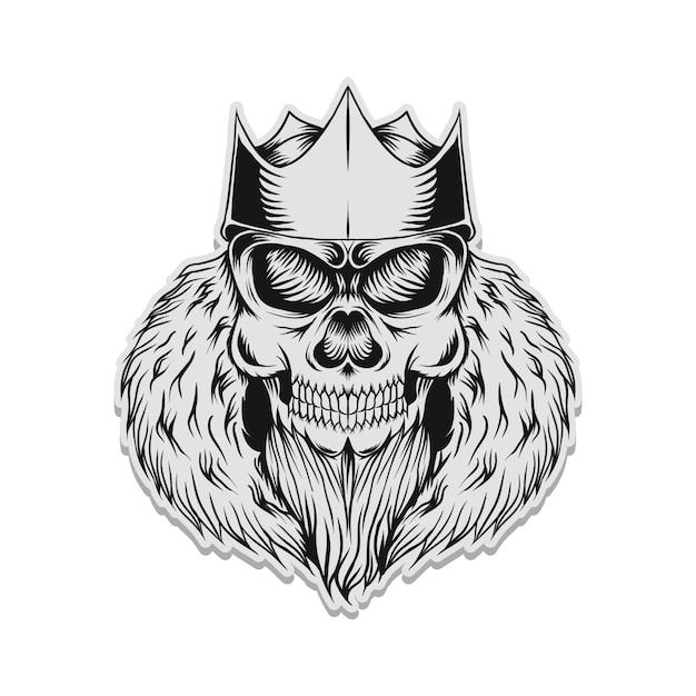 Illustration vectorielle de crâne roi autocollant Vecteur Premium